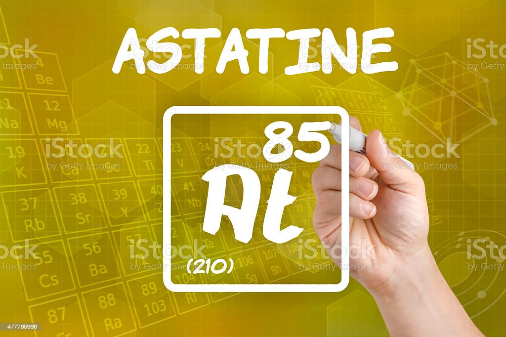 Symbol for the chemical element astatine stock photo