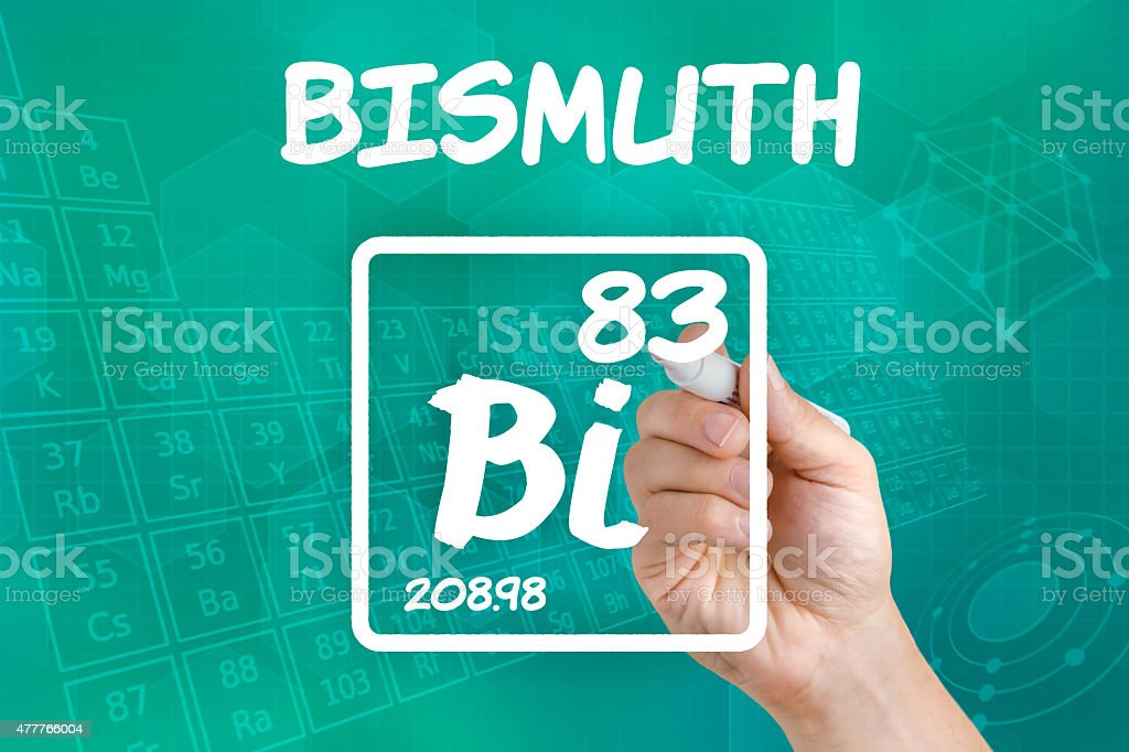 Symbol for the chemical element bismuth stock photo