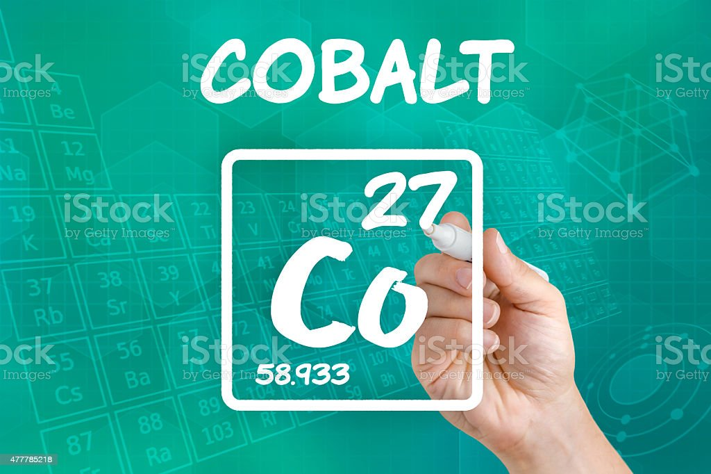 Symbol for the chemical element cobalt stock photo