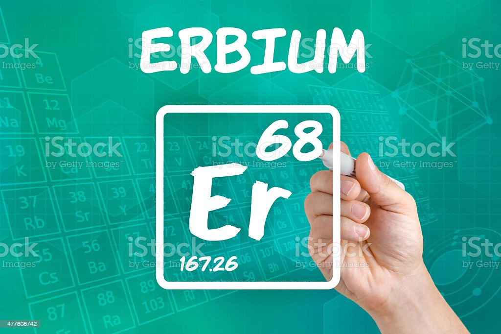 Symbol for the chemical element erbium stock photo