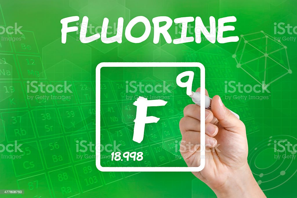 Symbol for the chemical element fluorine stock photo