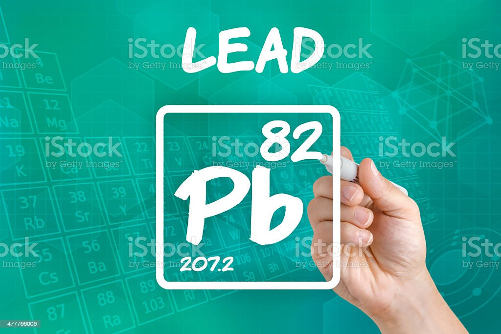 Symbol for the chemical element lead stock photo