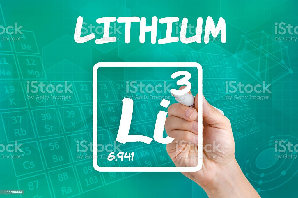 Symbol for the chemical element lithium stock photo