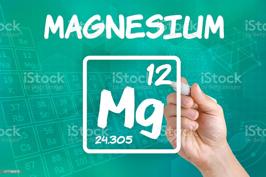 Symbol for the chemical element magnesium stock photo
