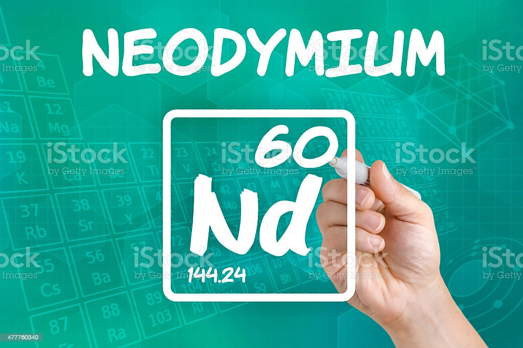 Symbol for the chemical element neodymium stock photo