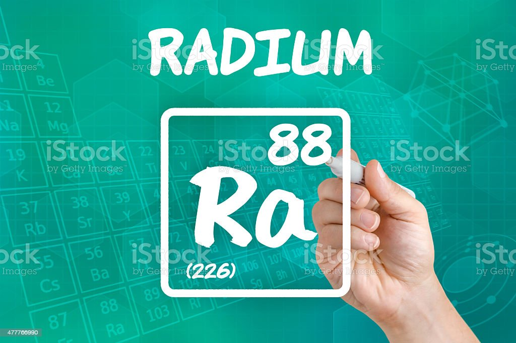 Symbol for the chemical element radium stock photo