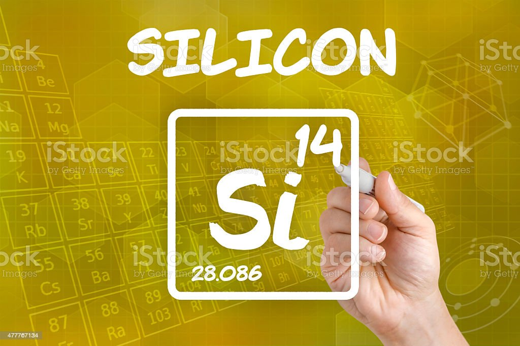 Symbol for the chemical element silicon stock photo
