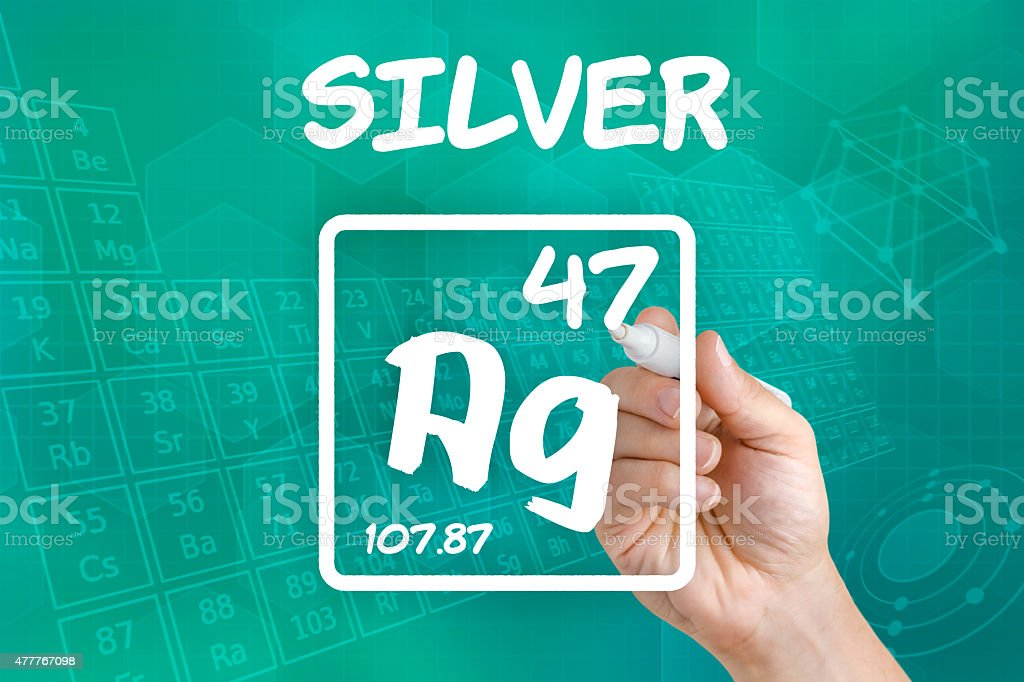 Symbol for the chemical element silver stock photo