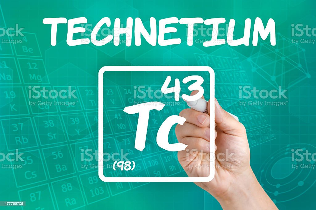 Symbol for the chemical element technetium stock photo