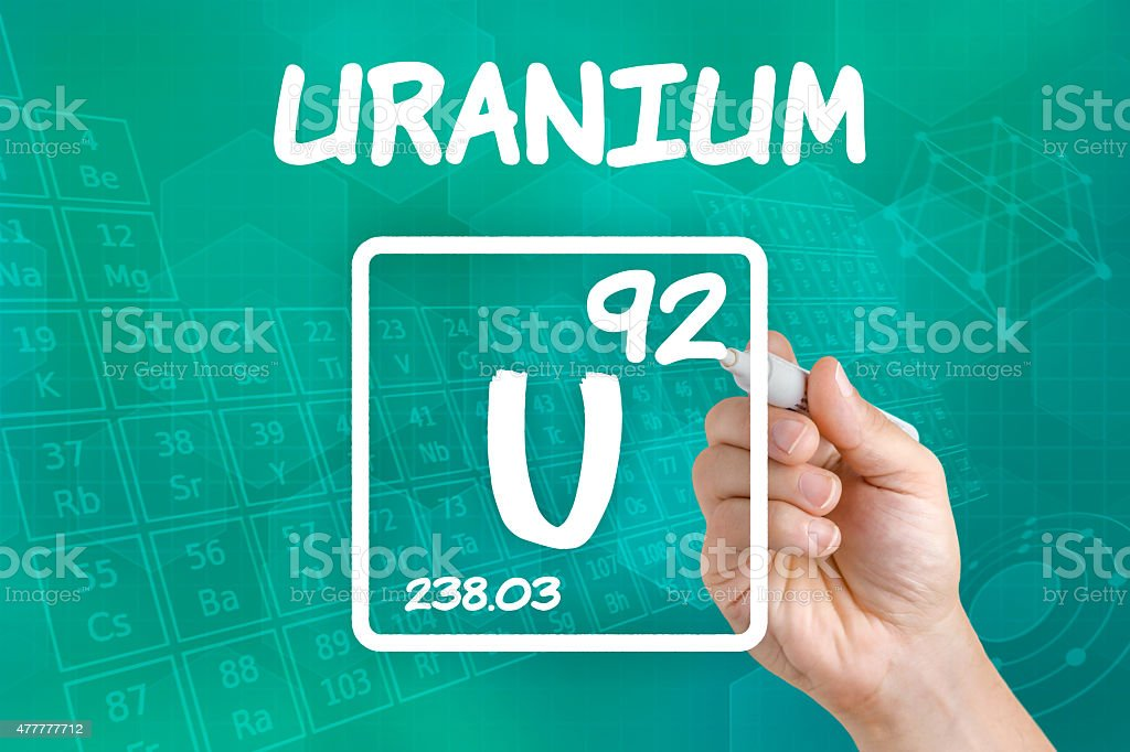 Symbol for the chemical element uranium stock photo