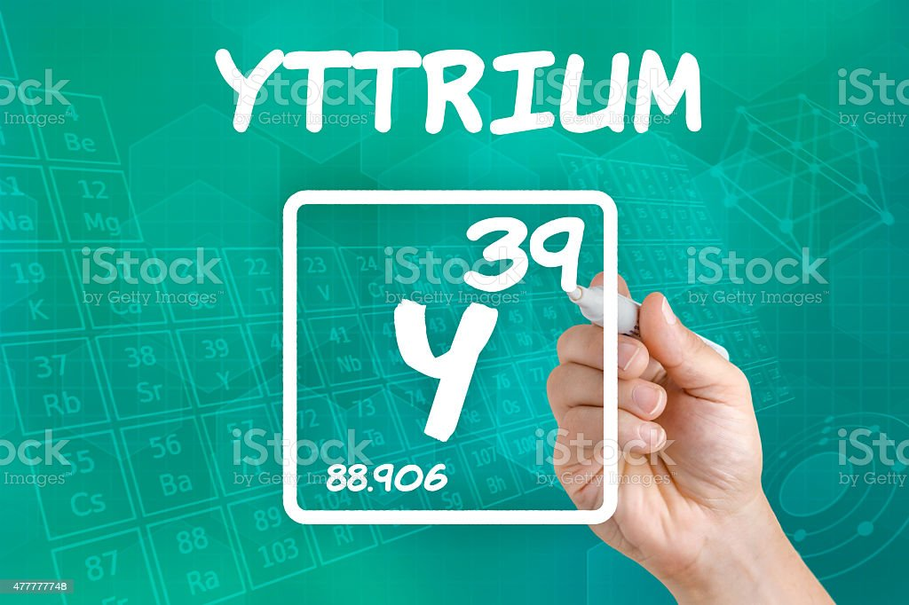 Symbol for the chemical element yttrium stock photo