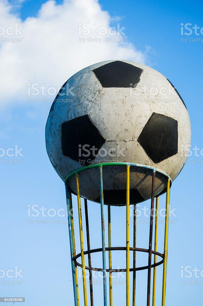 symbol great ball near the football stadium stock photo