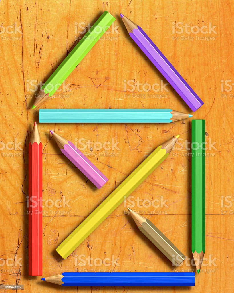 symbol of a house with colored pencils stock photo