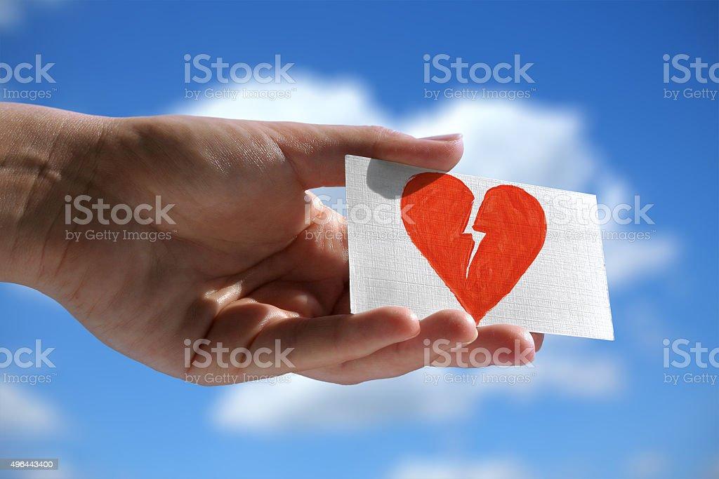 symbol of broken heart stock photo