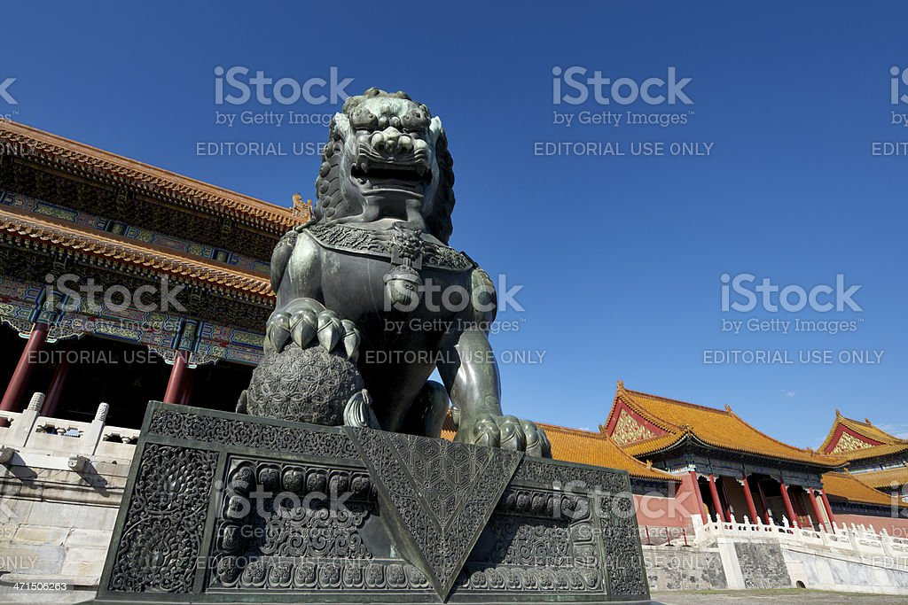 Symbol of Chinese power in the Forbidden City stock photo