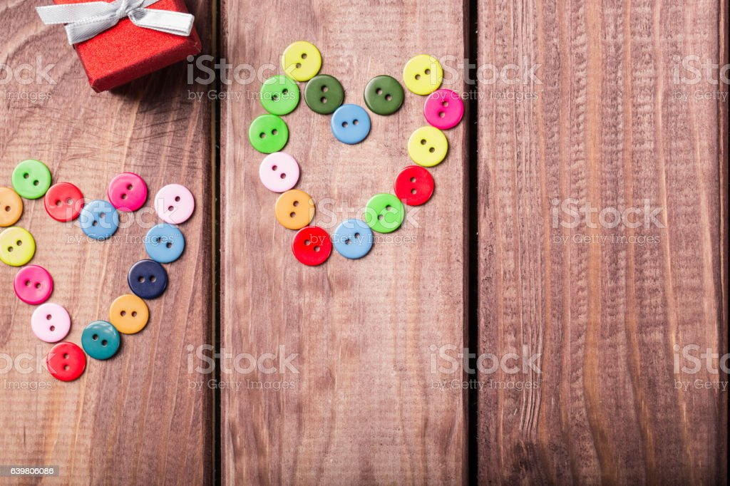 symbol of colorful heart buttons on Valentine's day stock photo