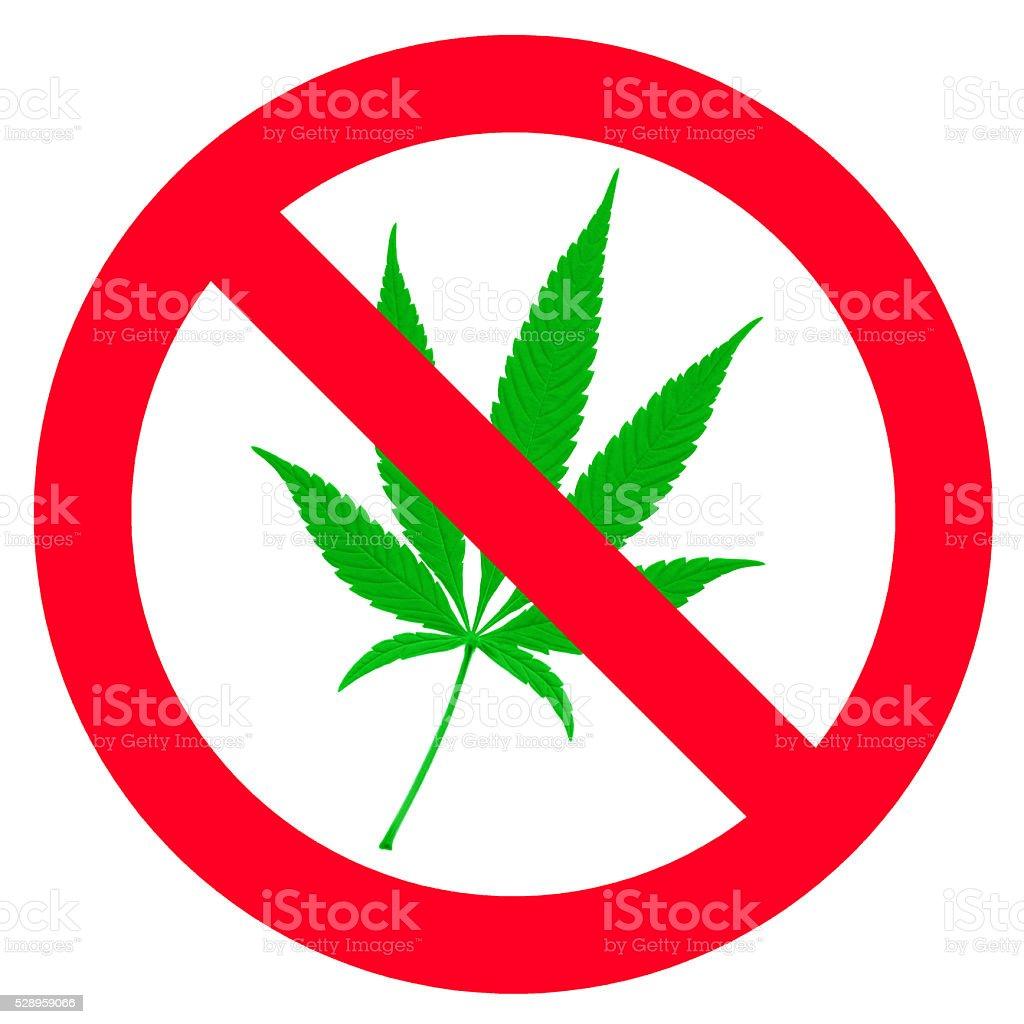 Symbol of forbidden cannabis stock photo