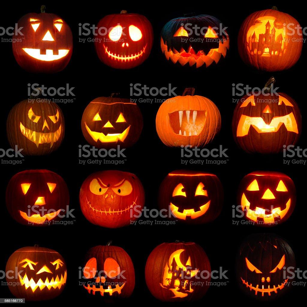 Symbol of Halloween holiday jack-o-lantern pumpkins stock photo