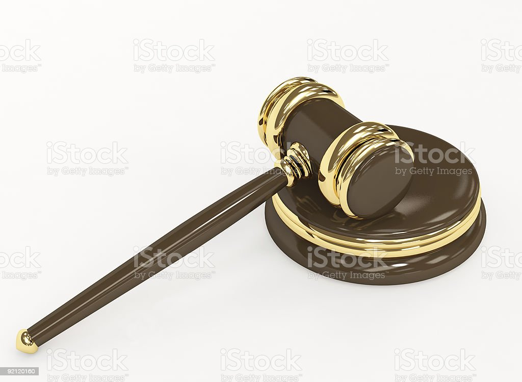 Symbol of justice - judicial 3d gavel vector art illustration
