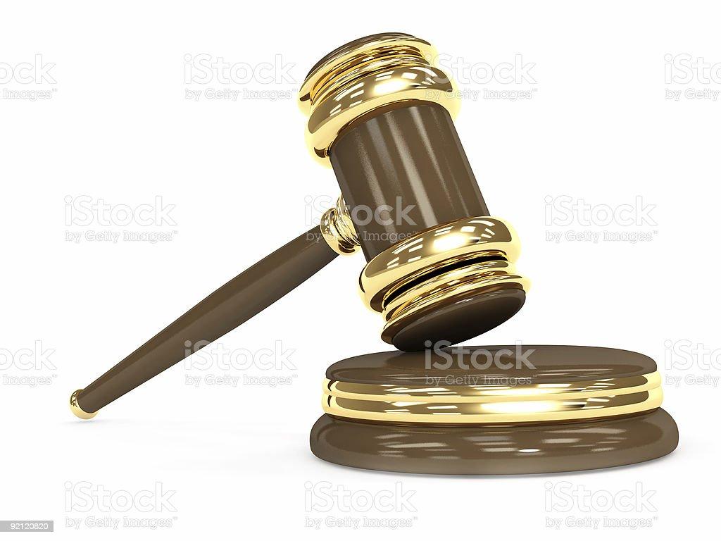 Symbol of justice - judicial 3d gavel vector art illustration