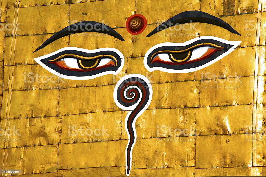 Symbol of Nepal, Buddha's Eyes in Kathmandu royalty-free stock photo