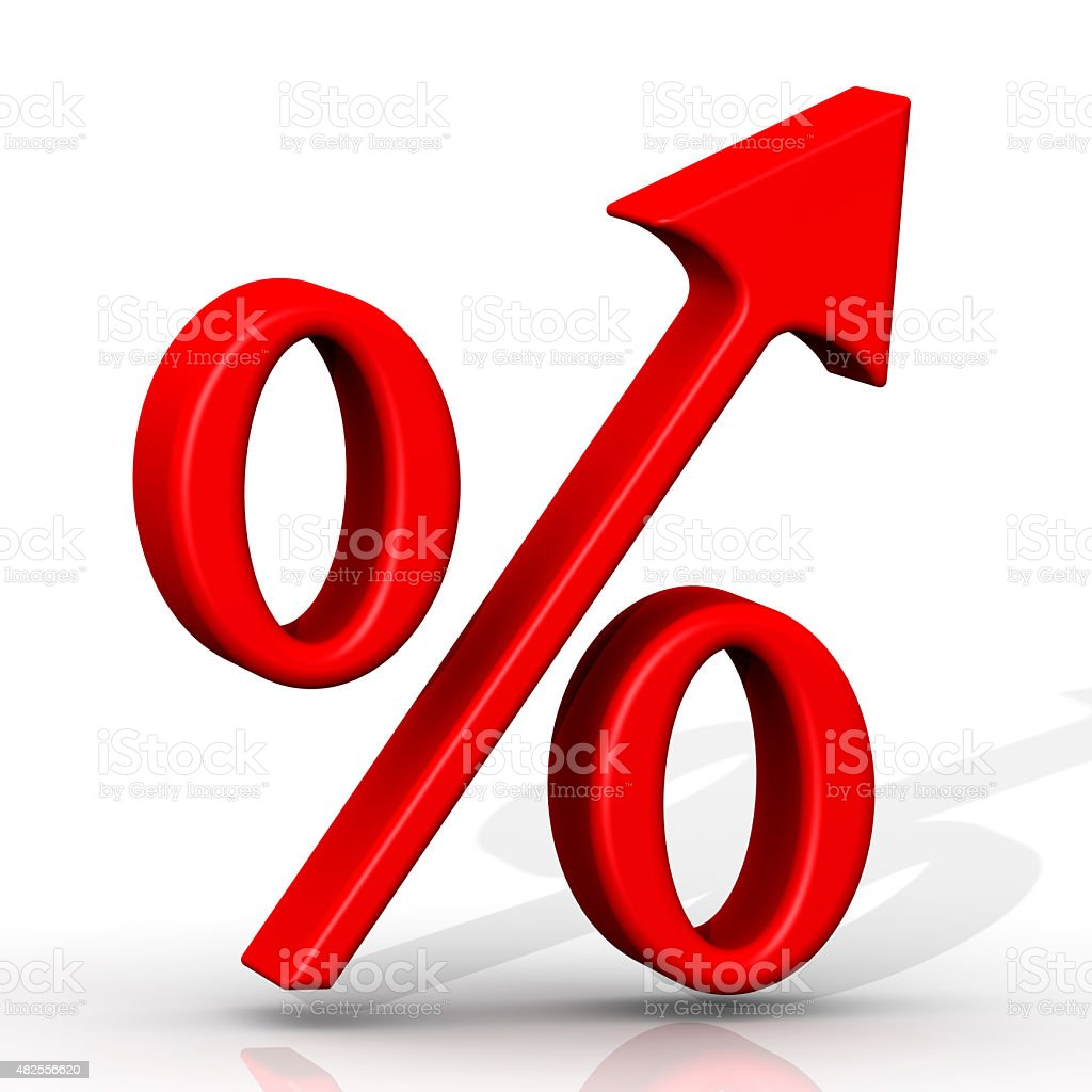 Symbol of rising interest rates stock photo