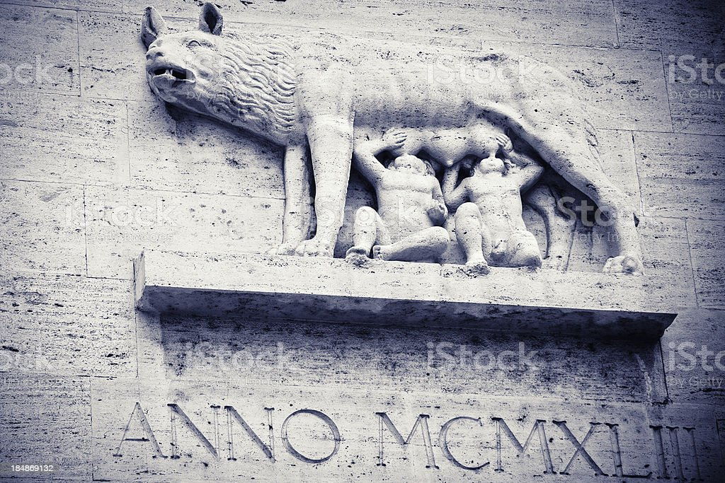 Symbol of Rome: The Wolf with Romulus and Remus stock photo