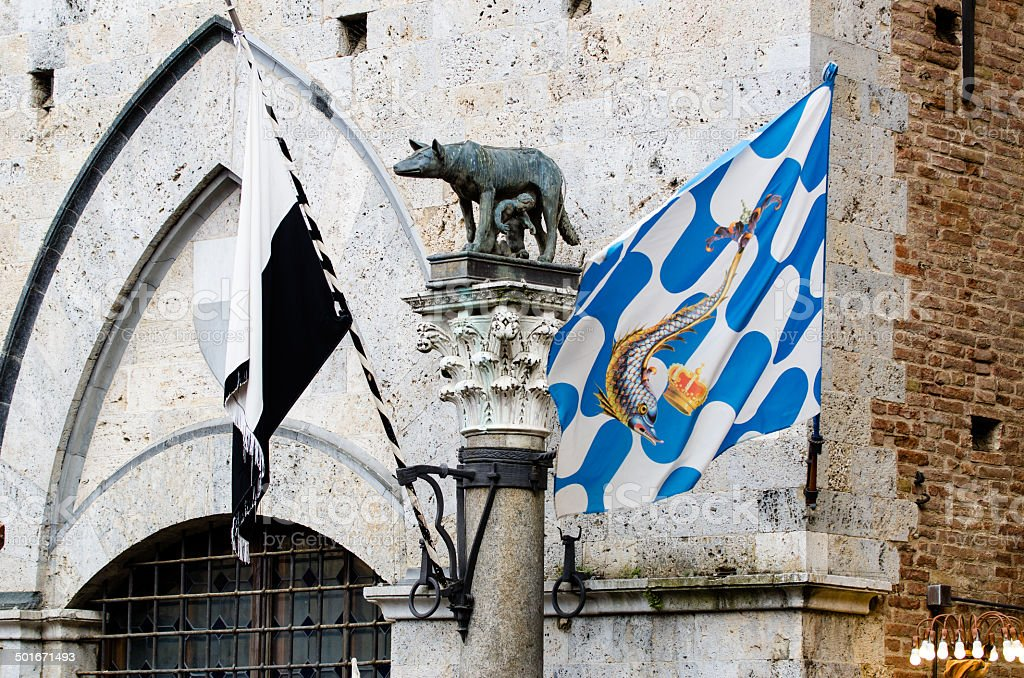Symbol of  Siena with the Palio flags stock photo
