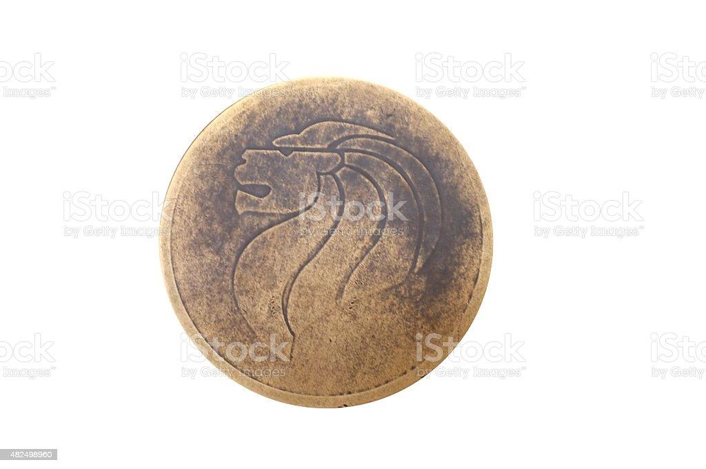 Symbol of Singapore, lion head on bronze stock photo