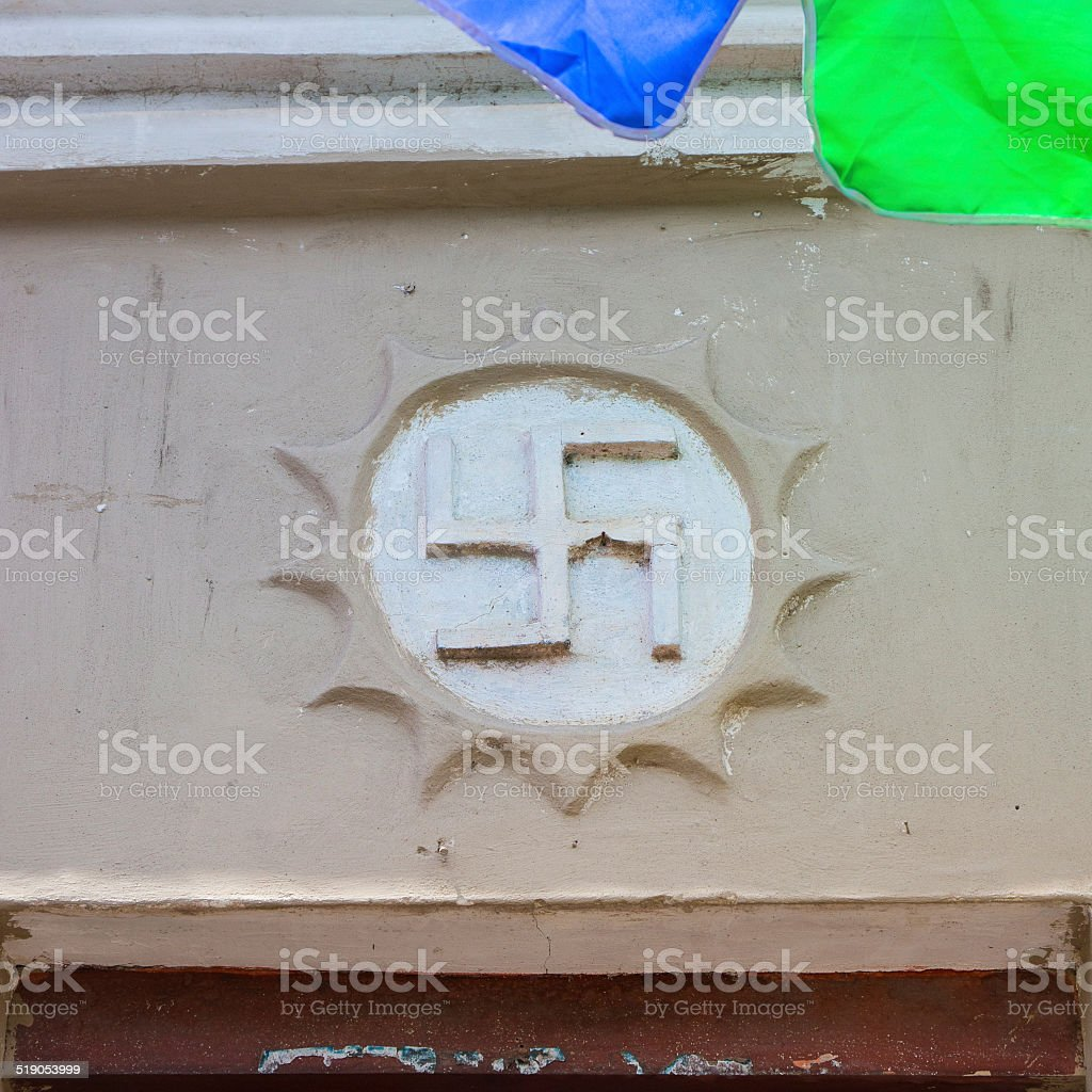 Symbol of Swastika in a Buddhist Temple ? stock photo