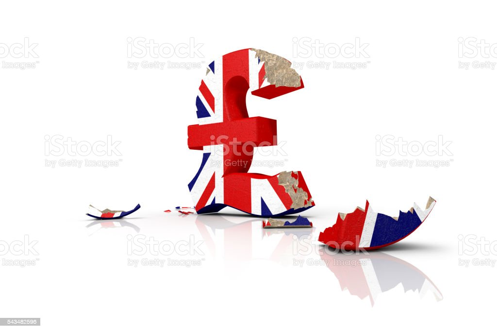 Symbol of the battered British pound after the Brexit stock photo