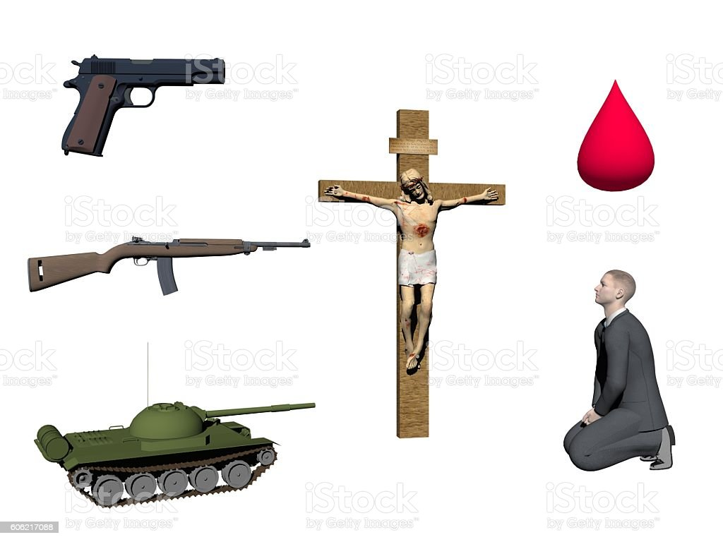 symbol of war and religion isolated in white background