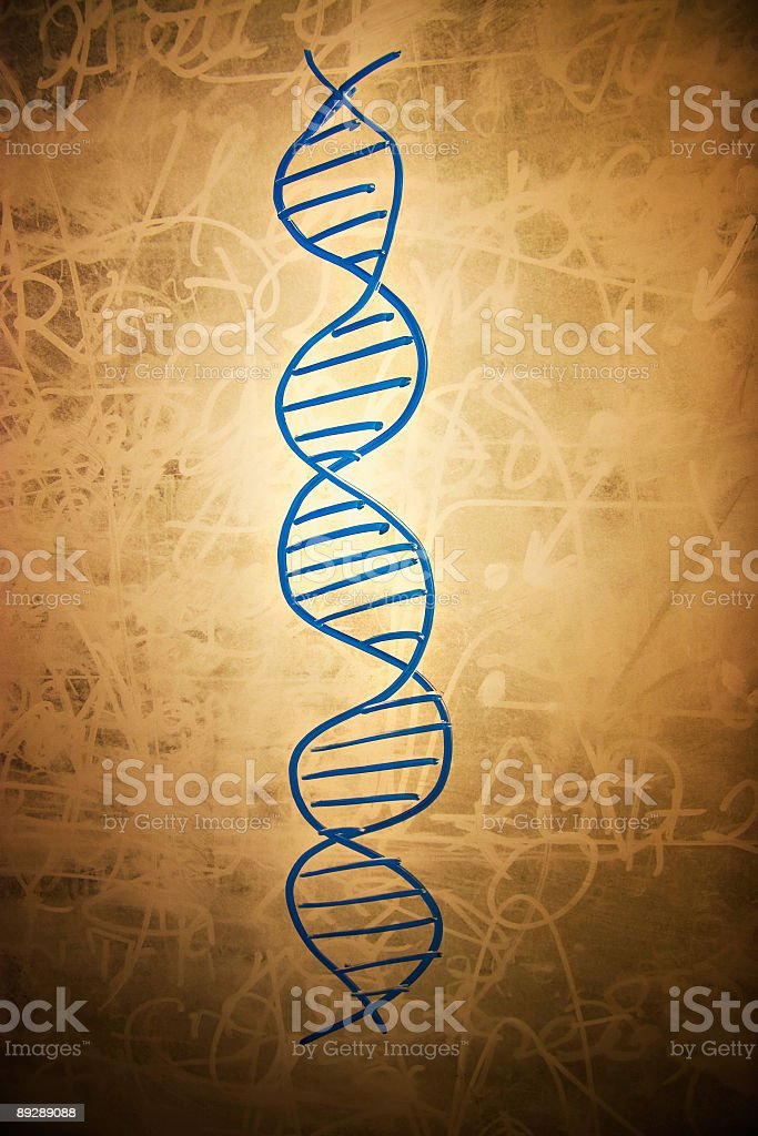 DNA symbol on dirty school board royalty-free stock photo