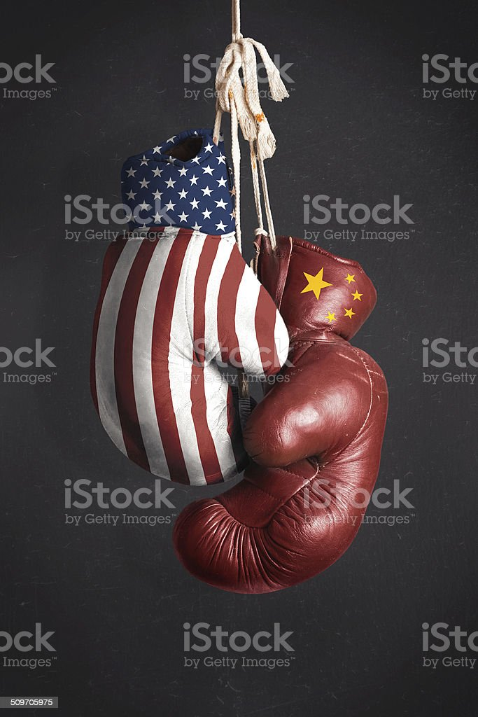 Symbol, struggle for economic power between the United State stock photo