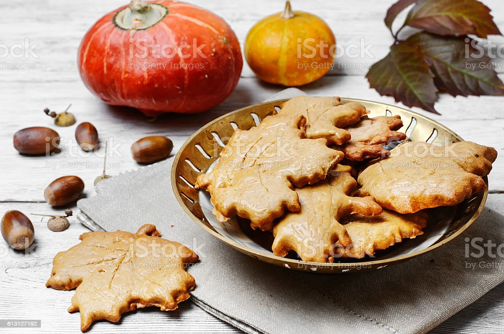 Symbolic autumn cookies stock photo