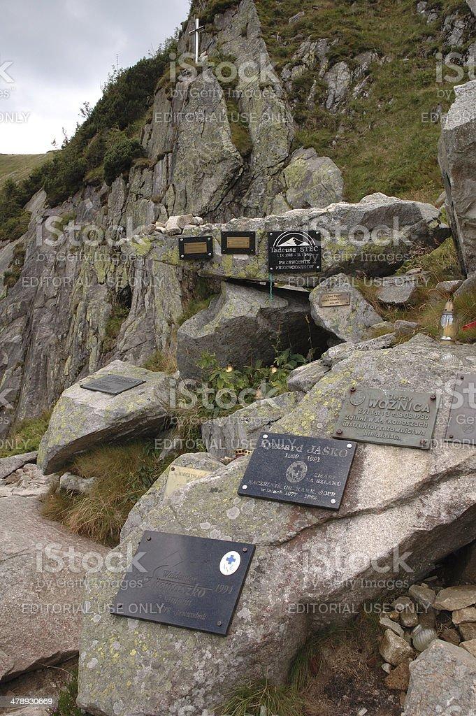 Symbolic cemetary on trail in Karkonosze mountains stock photo