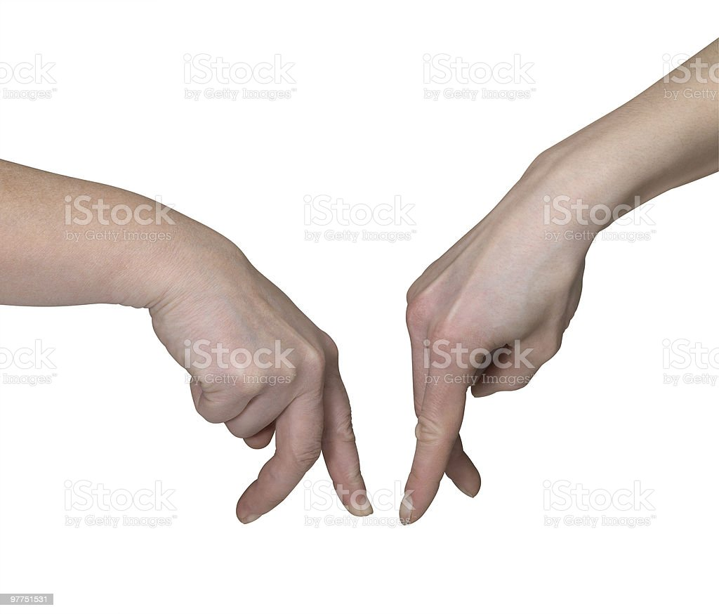 symbolic hands meeting royalty-free stock photo