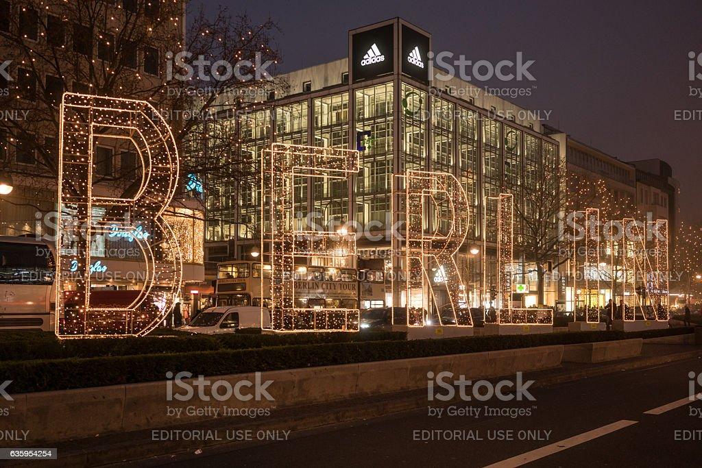 symbolic light chain BERLIN in western city stock photo
