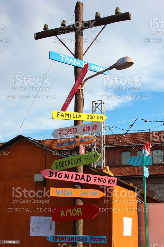 Symbolic tree with distances to Eternal Values in Madrid, Spain stock photo