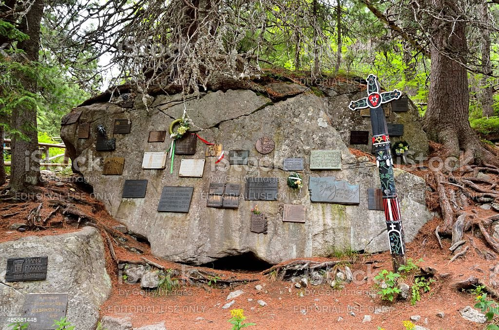 Symbolical Cemetery under Ostrva in High Tatra Mountains, Slovakia. stock photo