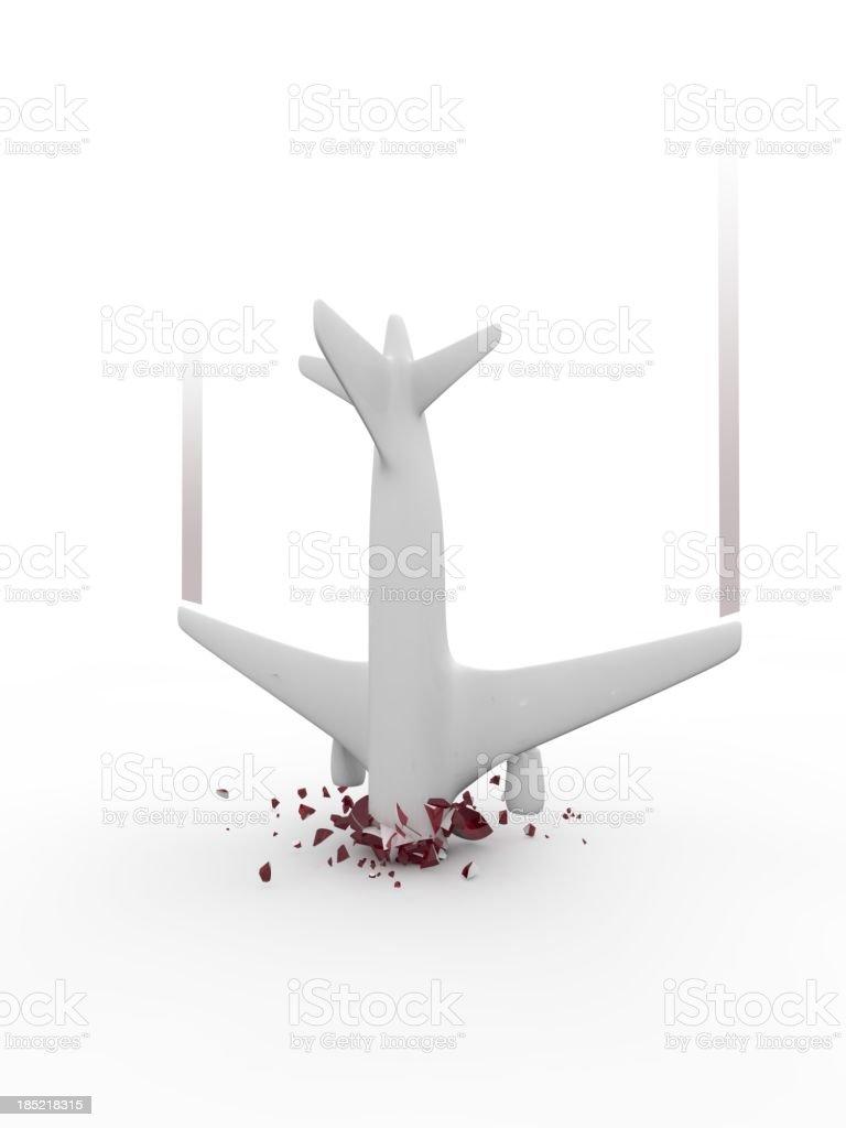 Symbolized airplane crash on white background royalty-free stock photo
