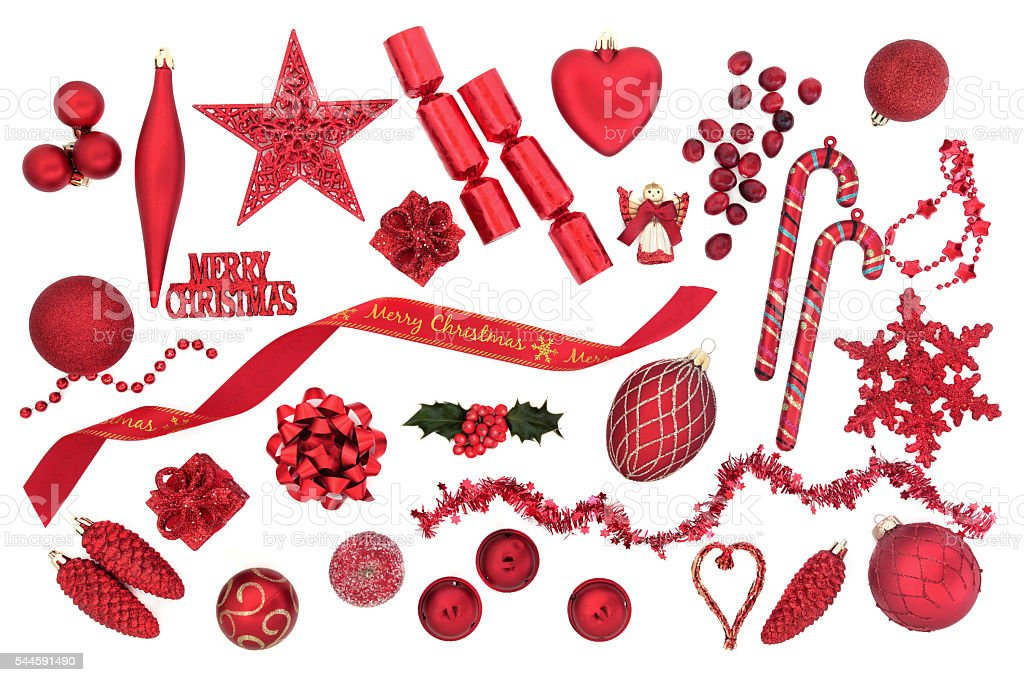 Symbols of Christmas in Red stock photo