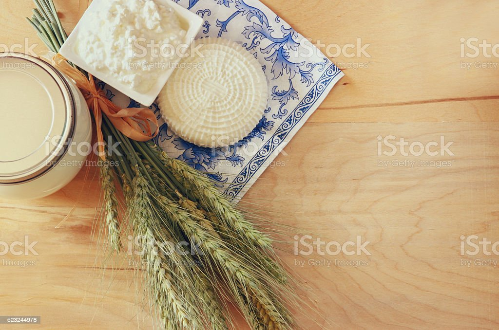Symbols of jewish holiday - Shavuot stock photo