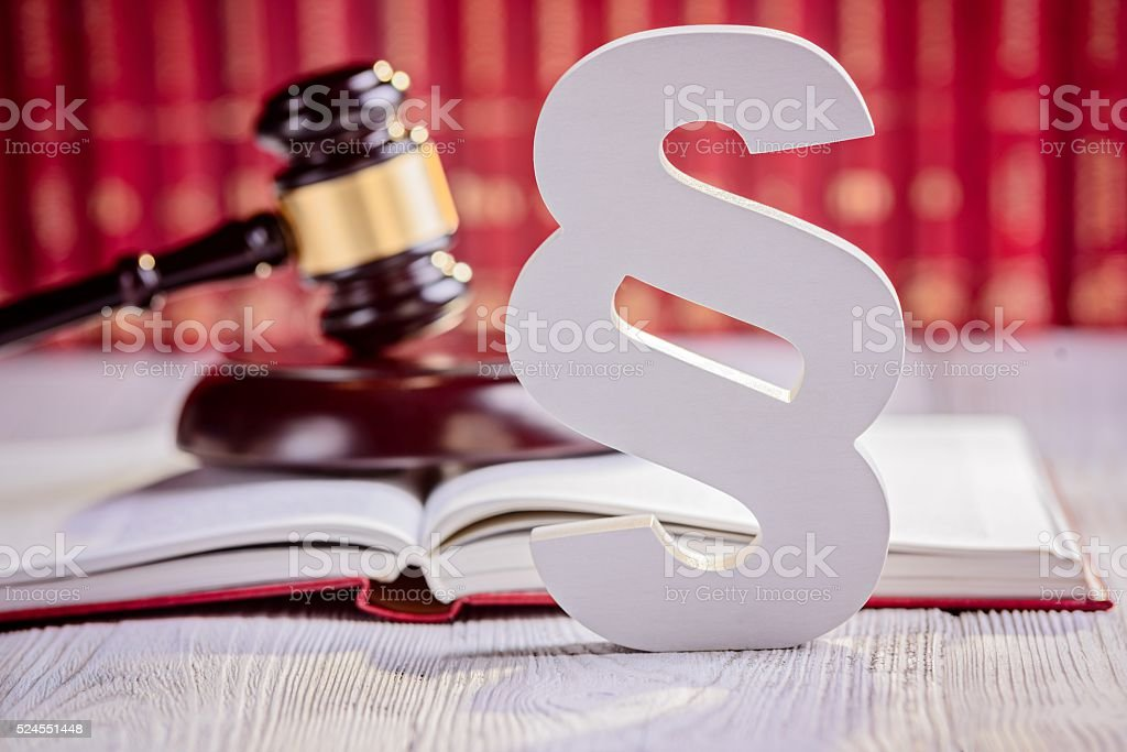 Symbols of law in court  library stock photo