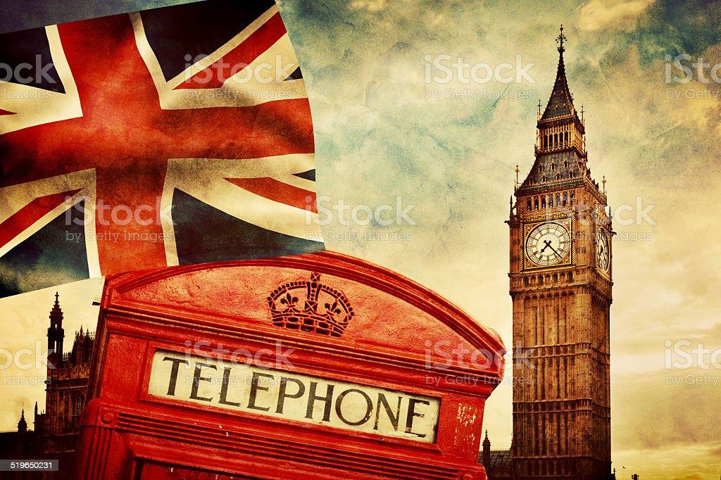 Symbols of London, England, the UK stock photo