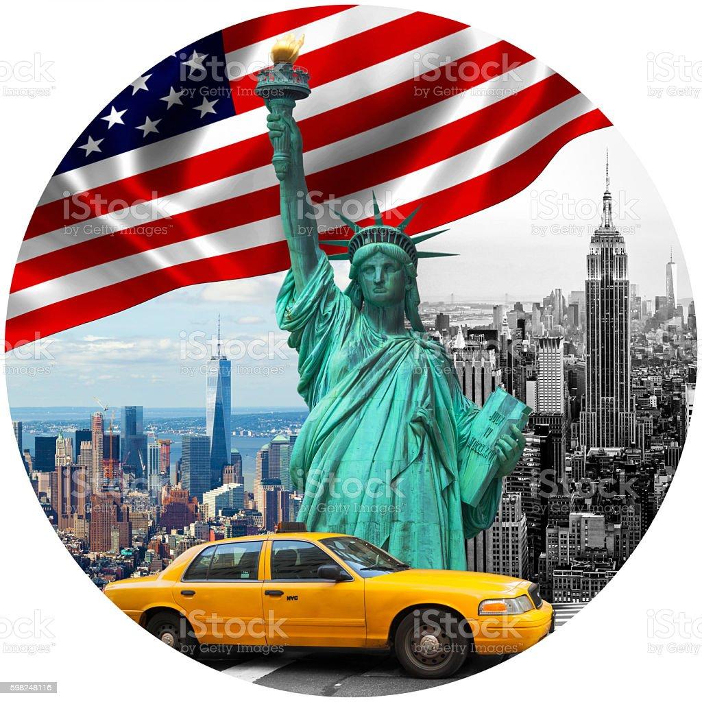 Symbols of New York City stock photo