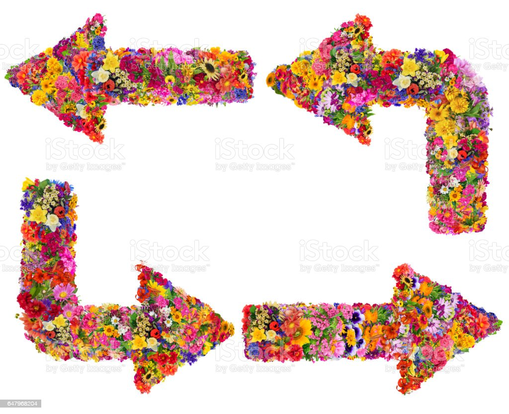 Symbols of the abstract arrows are made of fresh summer flowers. Isolated handmade collage stock photo