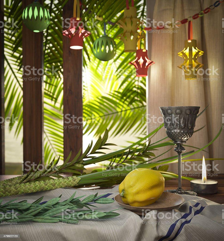 Symbols of the Jewish holiday Sukkot with palm leaves stock photo