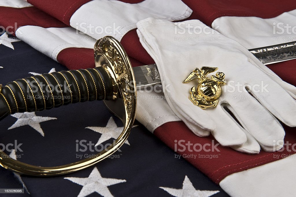 Symbols of the United States Marine stock photo