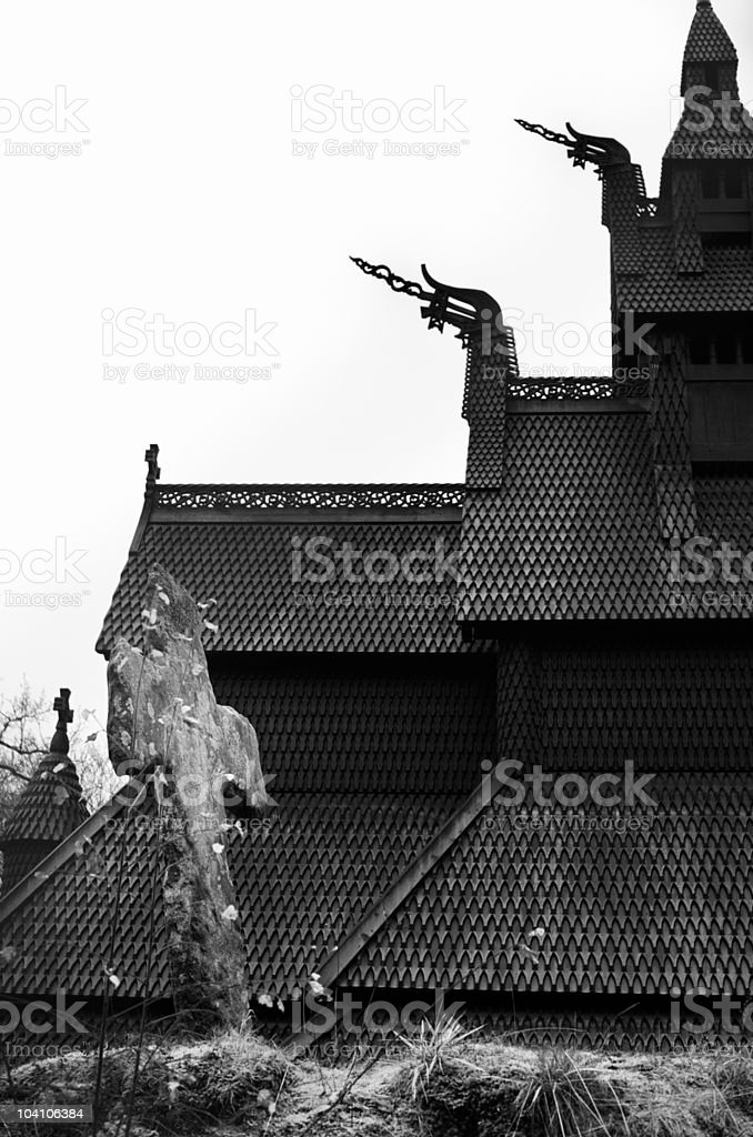Symbols of viking mythology and Christianity at Norwegian stave church stock photo